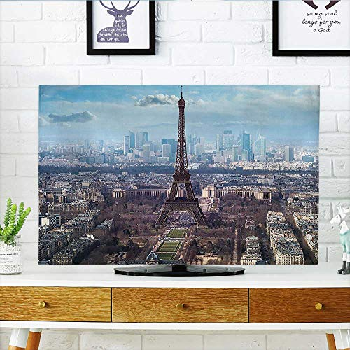 Auraisehome tv Protective Cover Decor Aerial View of Eiffel Tower On Bright Day Boulevard Busy Town Park tv Protective Cover W19 x H30 INCH/TV 32