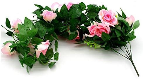 Rosa artificial de ratán para colgar decoración de flores – Cesta colgante floral flor de ratán decoración de pared jardín balcón pared boda flores decoración rosa claro: Amazon.es: Hogar