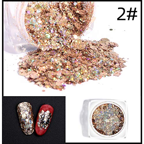 - Sussmai Fexport Chunky Glitter Nail Sequins Iridescent Flakes Ultra-Thin Tips Colorful - 1 x Nail Art