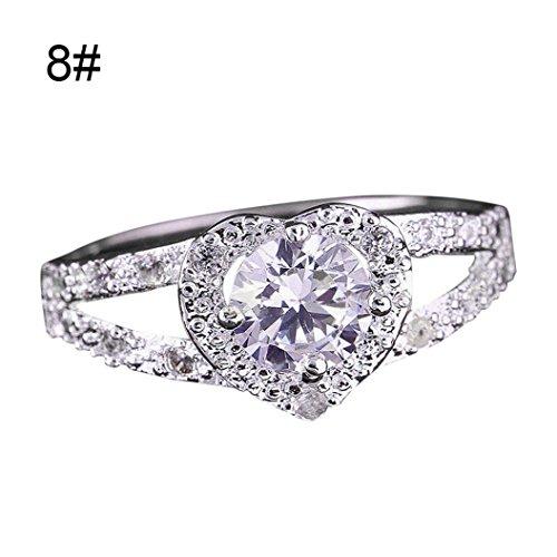 Ring,ZYooh Elegant Love Heart-Shaped Rhinestone Zircon Ring Engagement Wedding Band Ring (Silver, 8) - Elegant Style Heart