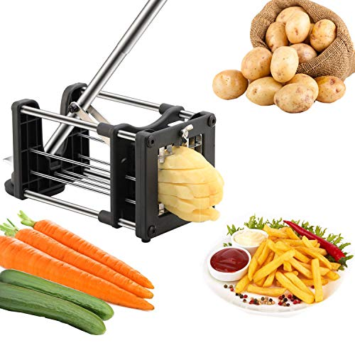 Meshist French Fry Cutter Potato Chipper with 2 Interchangeable Stainless Steel Blades, Vegetable slicer for Potatoes Carrots Cucumbers for Home Kitchen,Gift for Christmas