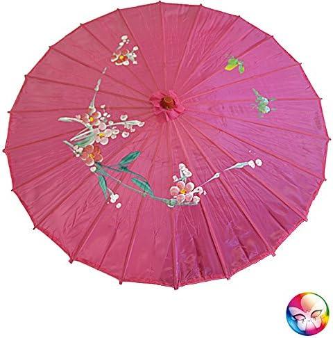 Aptafêtes - AC2702/FUSCHIA - Ombrelle chinoise en tissu decore fuchsia  - Taille 82 cm