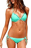 AllPL Womens Bikini fashion Padded Halter Neck top and strings bottom swimsuit 2 Piece Tankini