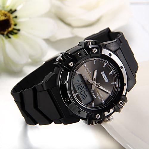 JewelryWe Montre Enfant Numérique Sport Multifonctionnel Lumineux Digital Electronique Bracelet Plastique Alliage Couleur Noir
