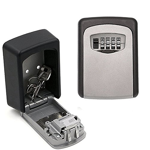 Elephant Xu Realtor Wall Mount Key Lock Box with 4-Digit Combination Made of Weather Resistant Steel for Indoors or Outdoors Holds up to 5 Keys