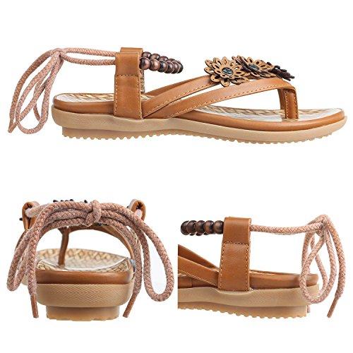 Flops Brun Sandales Flip Femme Flat Chaussures en Sandales Été ZOEREA Cuir qzAwvx