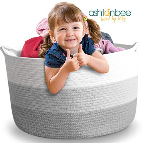 "Nursery Storage Basket, 22""x22""x16"", Cotton Rope Baby Laundry Basket, Blanket Basket, Toy Storage Hamper, Laundry Hamper"