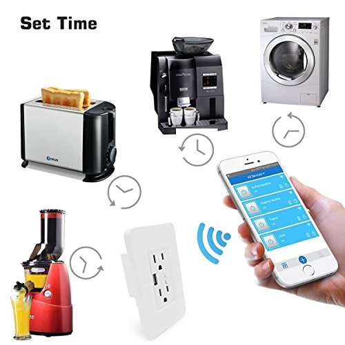 Smart WiFi High Speed USB Charger/USB Charger Wall Outlet (2.0A-5VDC) Dual Outlet Receptacle - Independently Remote Control Duplex Outlet 15A, Wireless Voice Control and Timer Switch with Scheduling by Alysontech (Image #6)