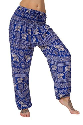 Pantalones harén–ALADDIN pantalones de Hippie con 18Diferentes diseños Elephant Light Blue
