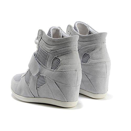 Rismart Mujer Zapatos Formal Oculto Tacón Cuña Gamuza Tela Zapatillas (Negro,EU35.5)