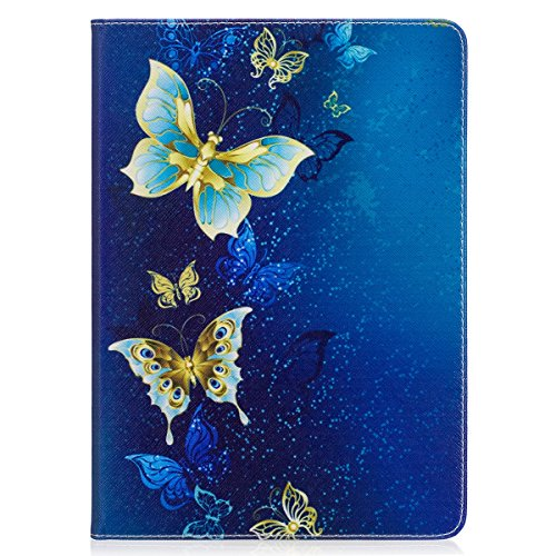 iPad Air Case,iPad 5 Case,Cartoon Cute Design Flip Stand Case with Wake/Sleep Function,PU Leather Protective Cover for Apple iPad 5/iPad Air,Cute Fairy Gold Butterfly Pattern IPAD 5 Case