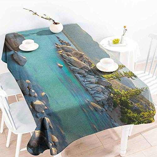 familytaste Lake,Decorative Print Tablecloth Pastoral Spring Time Scenery in Provincial Countryside Lake Beach Shallow Water Theme 54