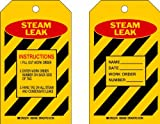Brady  86498 7'' Height x 4'' Width, Heavy Duty Polyester (B-837), Red/Black on Yellow Steam Leak Tags (10 Tags)