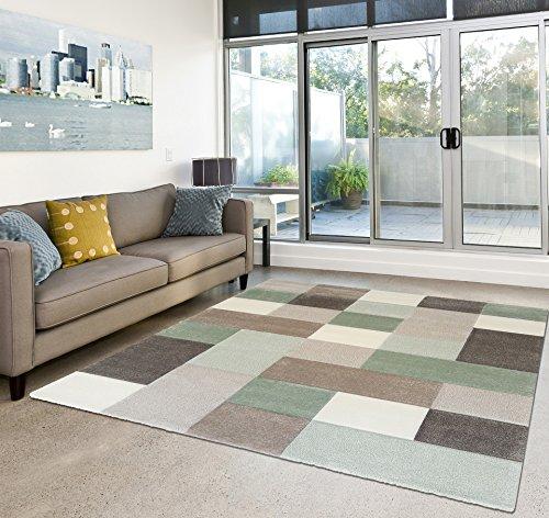 Amazon.de: Moderner Teppich Wohnzimmer Kurzflor Karo Pastell Farben ...