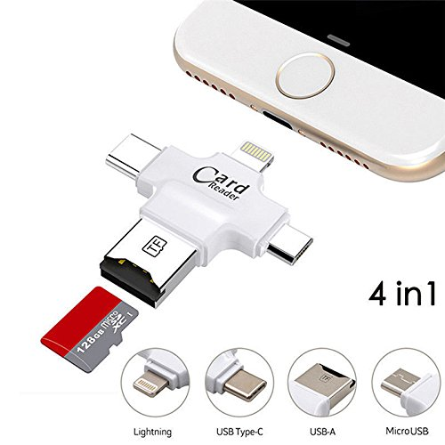 Topwill Sd Card Reader  Memory Micro Sd Usb C Card Adapter Viewer For Iphone Ipad Android Apple Mac  Compatiable With Lightning Micro Usb Type C 4 In 1  White