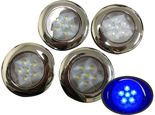 Pactrade Marine 4 of Boat Blue LED Ceiling Light SS304 Housing Surface Mount 12V 17LM