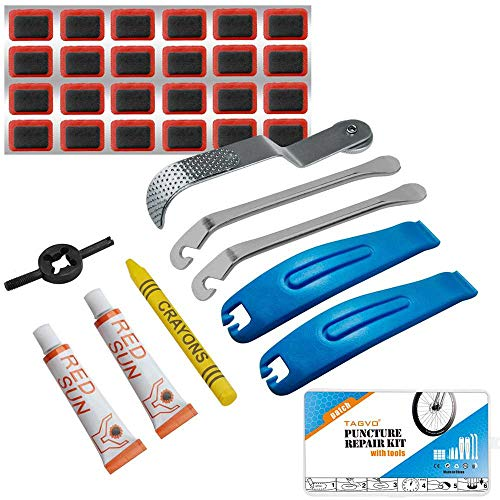 Bike Puncture Repair Kit - Bicycle Tyre Hose Glue Adhesive Super Patches Hardened Levers Rasp Tool for All Inflatable Inner Tubes in Road Emergency