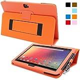 Snugg™ Nexus 10 Case - Smart Cover with Flip Stand & Lifetime Guarantee (Orange Leather) for Nexus 10