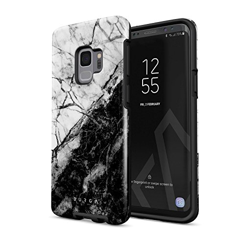 (BURGA Phone Case Compatible with Samsung Galaxy S9 Case Fatal Contradiction Black and White Marble Yin and Yang Heavy Duty Shockproof Dual Layer Hard Shell + Silicone Protective Cover)