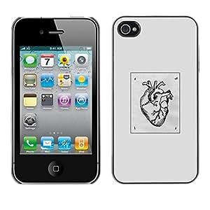 // PHONE CASE GIFT // Duro Estuche protector PC Cáscara Plástico Carcasa Funda Hard Protective Case for iPhone 4 / 4S / B & W Dibujo Corazón Amor /