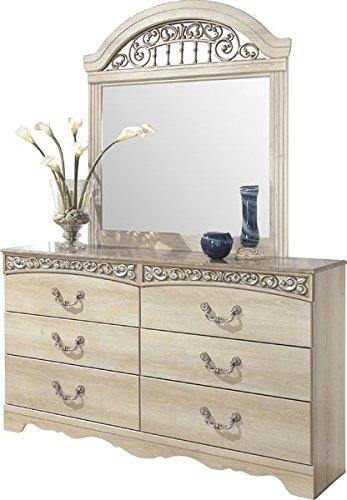 6 Drawer Dresser Top with Faux Marble Finish Antique Finish Over Replicated Chestnut Grain Dark Champagne-tone Hardware and Scroll Moulding Mirror NOT Included - Traditional 4' Handle Pull