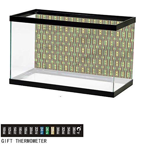 (bybyhome Fish Tank Backdrop Kente Pattern,Retro Striped,Aquarium Background,36