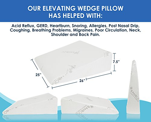 Relax Home Life 7.5 Inch Bed Wedge Pillow for Acid Reflux, 1.5 Inch Memory Foam Top with Bamboo Cover, 25 W x 26 L x 7.5 H, White