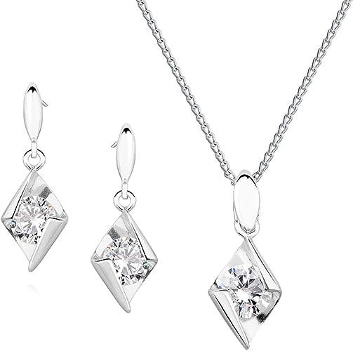 *Beforya Paris* – Princess Kiss – Magnifique ensemble – Couleur cristal –  Argent 925 Belle parure de bijoux pour femme avec cristaux Swarovski® – ...