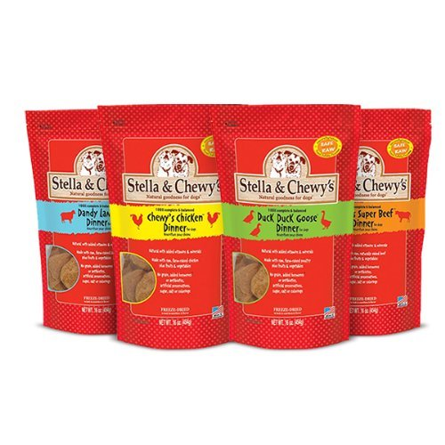 Pack of 4, 15 OZ, Beef, Chicken, Duck and Lamb Variety Pack Food for Dogs by Stella & Chewy's