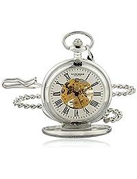 Akribos XXIV Men's AK609SS Bravura Vintage Mechanical Skeleton Chain Pocket Watch
