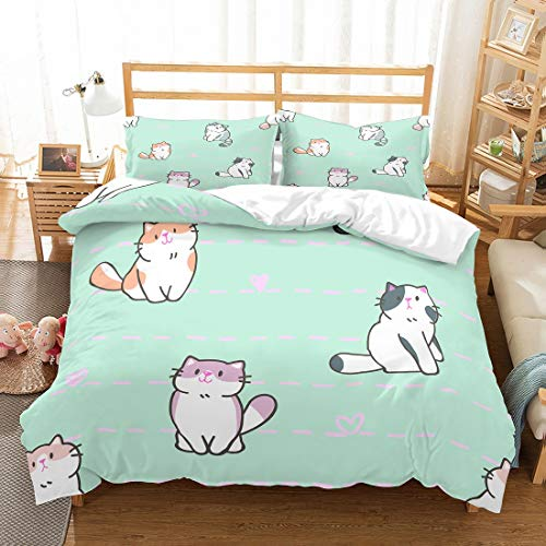 PATATINO MIO 3D Kids Cats Bedding Twin Size Purple/Pink/Blue/Orange White Cartoon Cats Bedspread Printed Green Duvet Cover Set for Boys Girls 2 Pieces with 1 Pillow Sham No Comforter