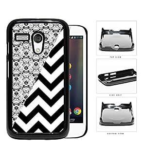 Black & White Floral Damask Pattern with Black/White Chevron Pattern Motorola (Moto G) Hard Snap on Plastic Cell Phone Case Cover