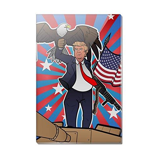 Patriotic Donald Trump with Eagle American Flag Gun Rectangle Acrylic Fridge Refrigerator Magnet (Rectangle Patriotic Magnet)