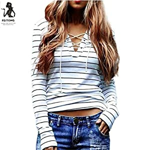Clearance! Women Casual Long Sleeve Lace Up V Neck T Shirt Striped Blouse Tops