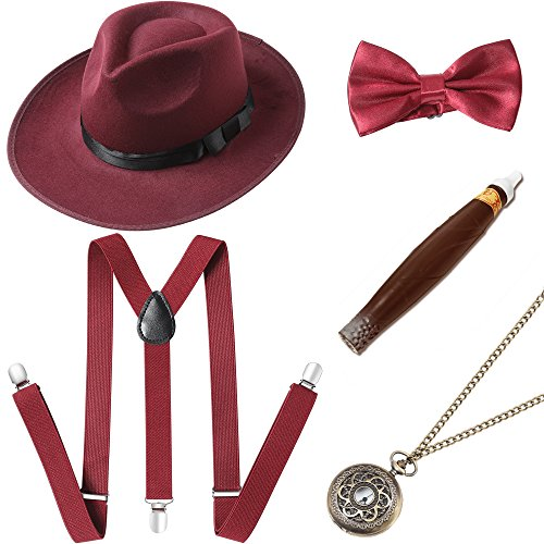 BABEYOND 1920s Mens Gatsby Costume Accessories Set Includes Panama Hat Elastic Y-Back Suspender Pre Tied Bow Tie Pocket Watch and Plastic Cigar (Set-1) -