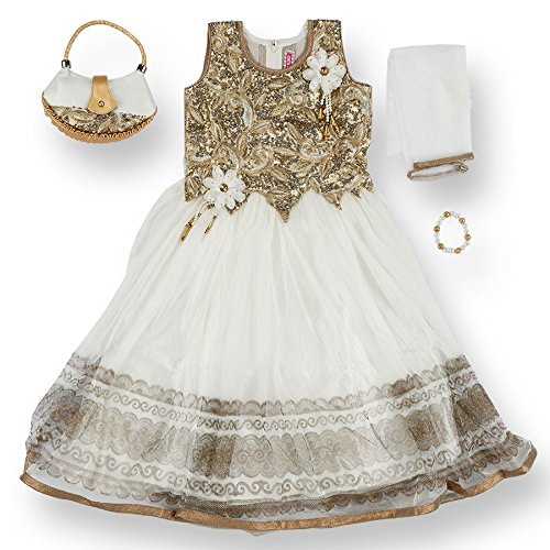 JaipurSe Baby Girls Clothing Party/Wedding/Diwali/Ethnic Wear Gown Dress Bracelet Purse Outfit by JaipurSe