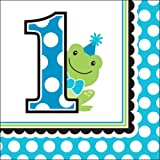 Creative Converting 18 Count Preppy Frog Beverage Paper Napkins, Blue