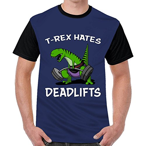 MordenCabin T Rex Hates Deadlifts Mens Printing Round Neck t-Shirts Top Blouse Shirt Navy