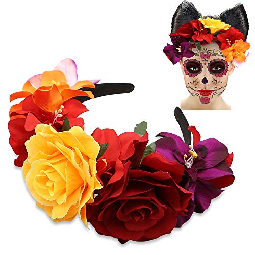 Mexican Rose Flower Crown Headband Day of The Dead Headband Costume Dia de Los Muertos Mexican Theme Parties Supplies Headpiece -