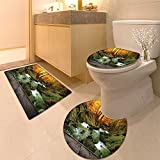 3 Piece Anti-slip mat set Autumn creek woods with yello trees foliage and rocks in mountain and wood pier Non Slip Bathroom Rugs
