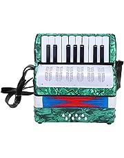 Lipcowe letnie prezenty Wandisy akordeon dziecięcy, 17 klawiszy, 8 basów, akordeon muzyczny dla początkujących studentów (zielony)