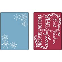 Sizzix Textured 2-Pack Impressions Embossing Folders for Scrapbooking, Snowflake Season Set by Jen Long-Philipsen