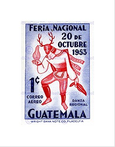 [STAMP GUATEMALA 1 ONE CENT NATIVE DANCER COSTUME OCTOBER FRAMED PRINT B12X10028] (Postage Stamp Costume)