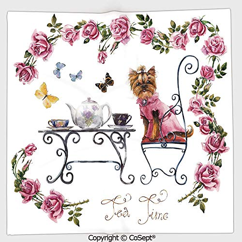 (AmaUncle Lightweight Square Towel,Yorkshire Terrier in Pink Dress Having a Tea Party Tea Time Butterflies Roses Decorative,for Adults Girls Boys Women Men(13.77x13.77 inch),Pale Pink White)