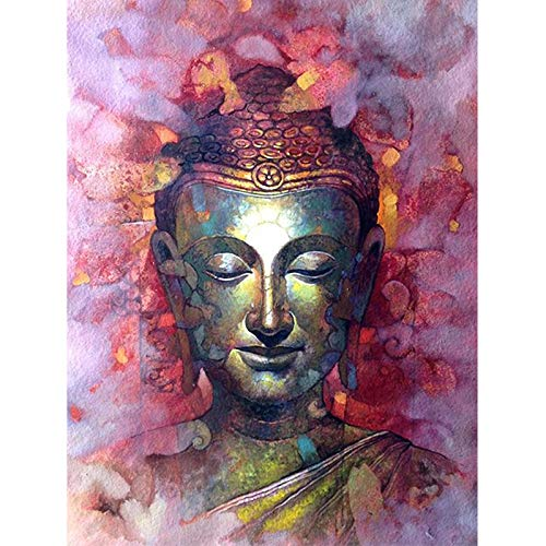 Paint By Number Kits 16 X 20 Inch Canvas Diy Oil Painting For Kids, Students, Adults Beginner With Brushes And Acrylic Pigment -Pink Buddha Statue(With Frame)