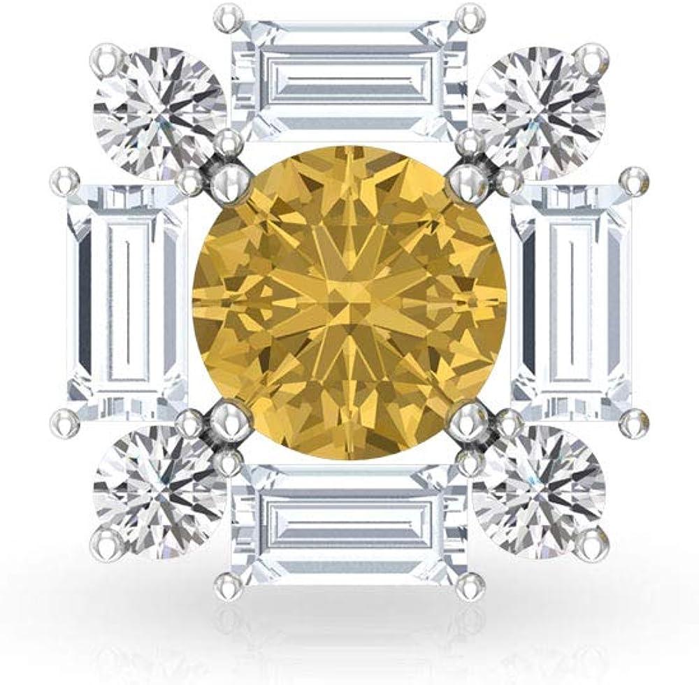 Aretes de diamante solitario citrino, halo de diamante IGI certificado, pendientes de boda nupcial, pendientes de declaración de piedras preciosas IJ-SI Diamonds, tornillo hacia atrás