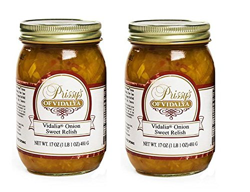 Prissy's of Vidalia Sweet Onion Relish, 16 Oz (Pack of 2) Fat FREE, ALL Natural, No Preservative,