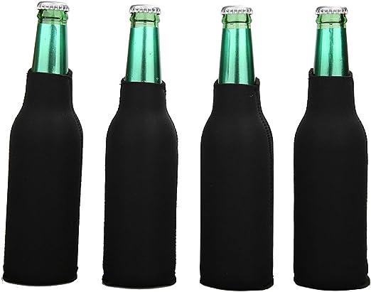 25 BLACK Blank Foam ZIPPER Longneck BOTTLE Holders Beer Bottle Coolers