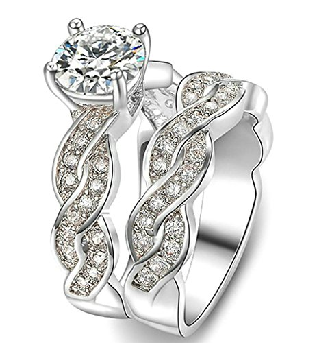 Bishilin 18K Gold Plated Women Engagement Wedding Rings Set Double Row CZ White Size (Double Row Engraved Band)