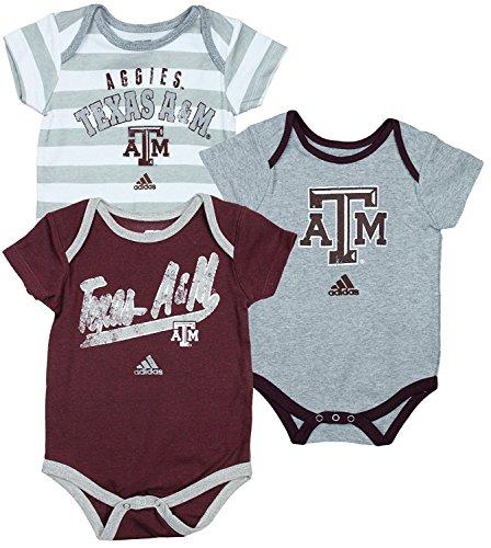 - Texas A&M University Aggies NCAA Unisex Baby Infant Lil Fan 3 Piece Bodysuit Set, Maroon - Grey - White Grey Stripes